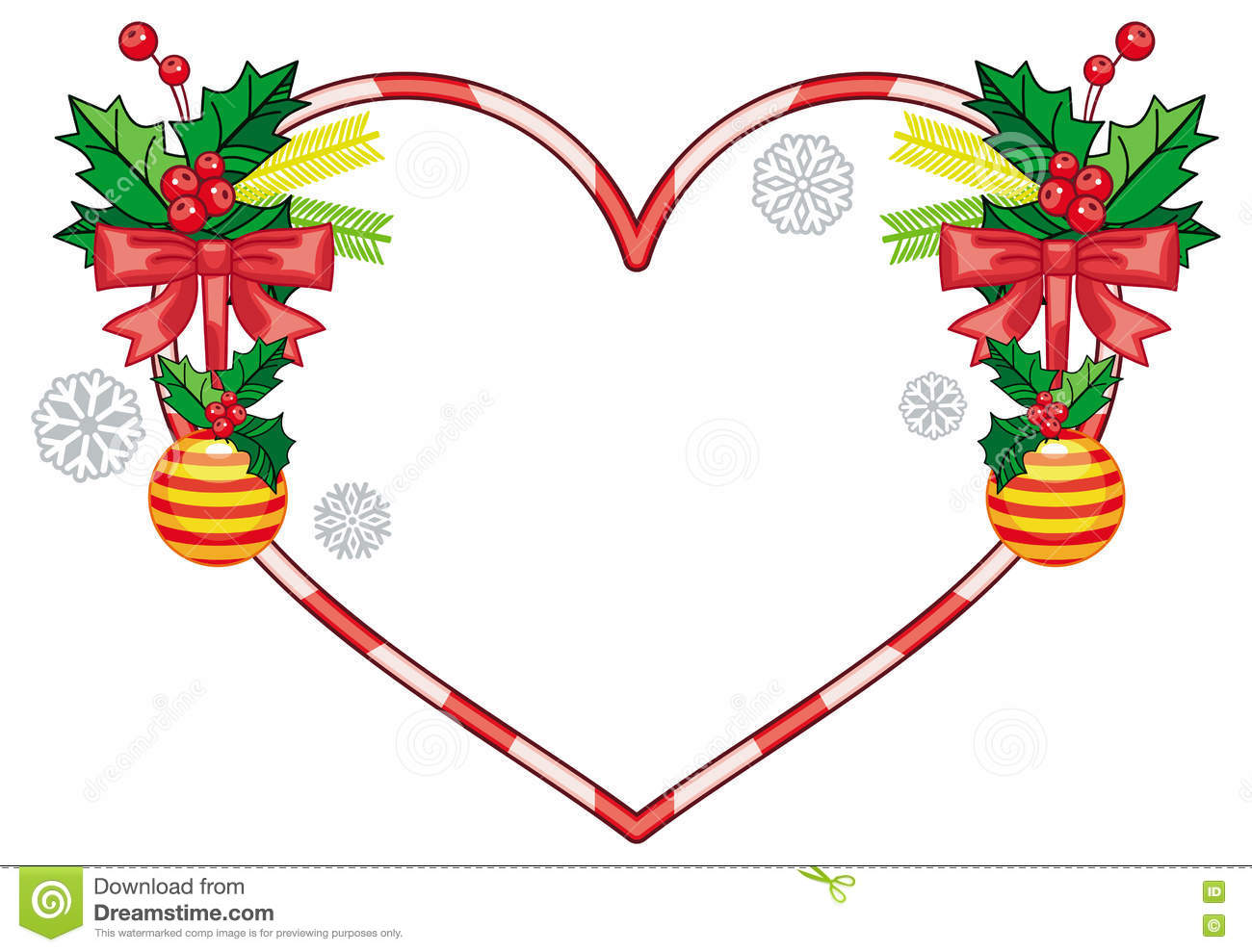 Heart shaped christmas wreath stock illustration