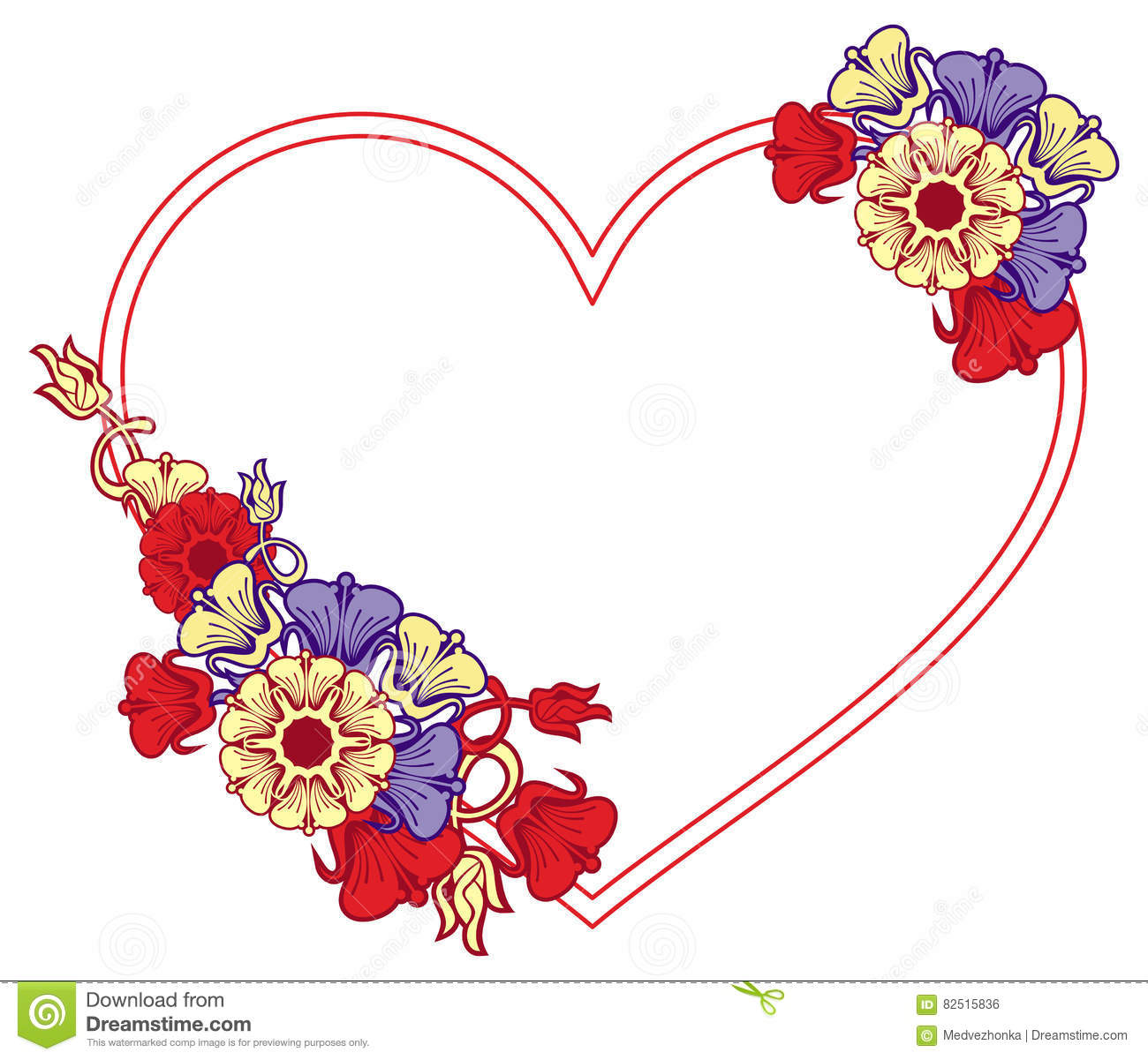 Heart-shaped Frame With Decorative Flowers. Stock Photo - Image of ...