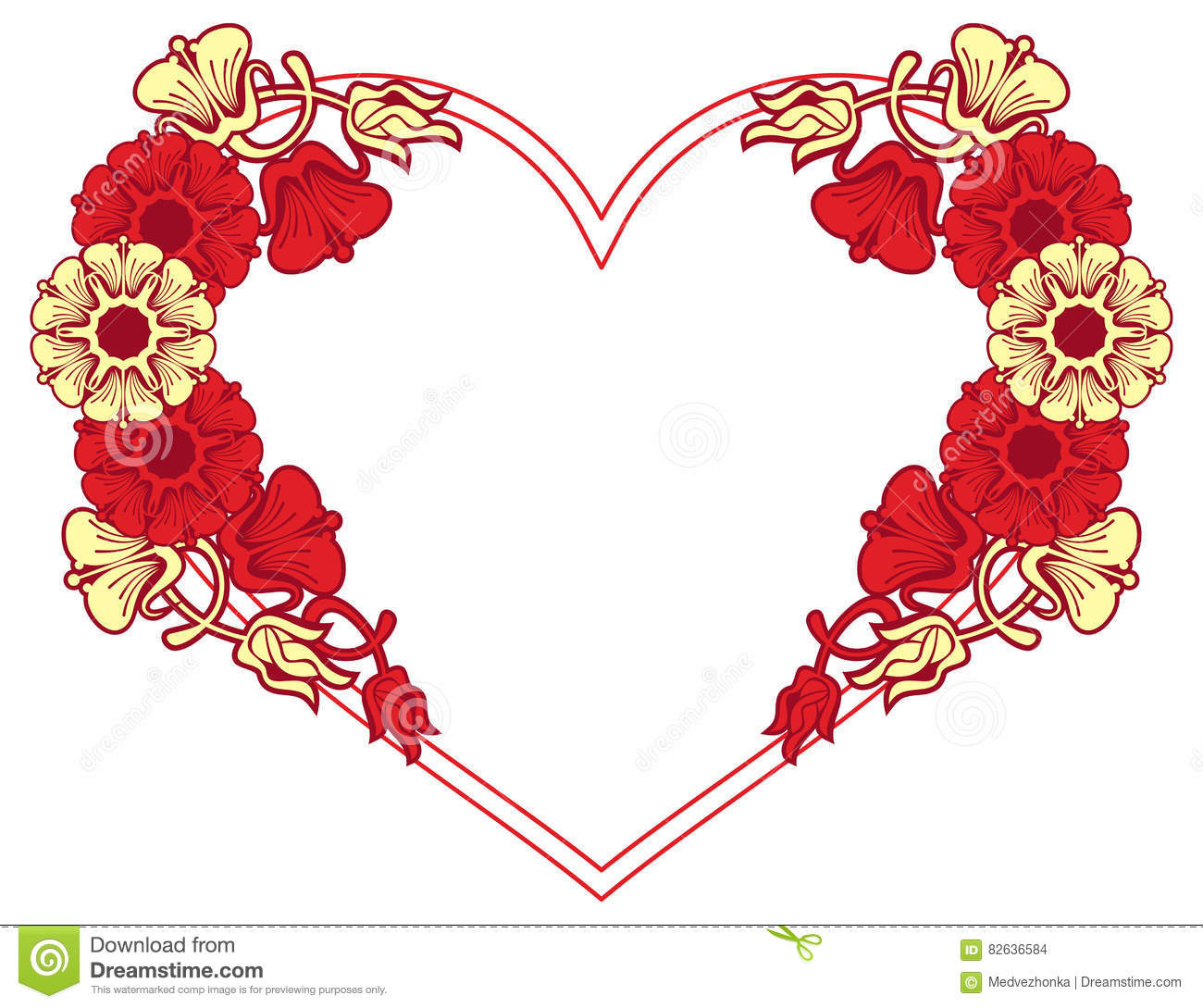 Heart-shaped Frame With Decorative Flowers. Stock Illustration ...