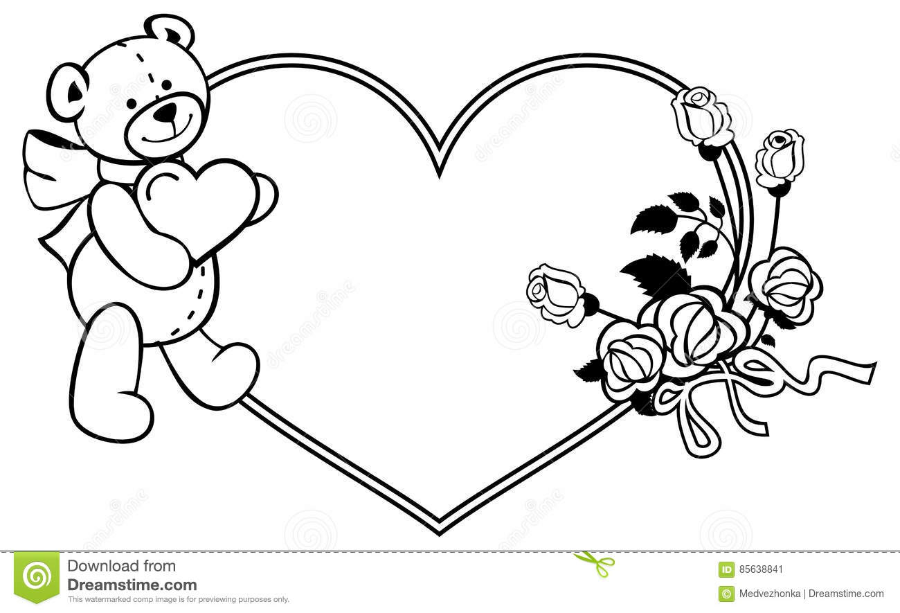 Teddy Bear Holding A Heart Coloring Page, Free coloring pages of ...