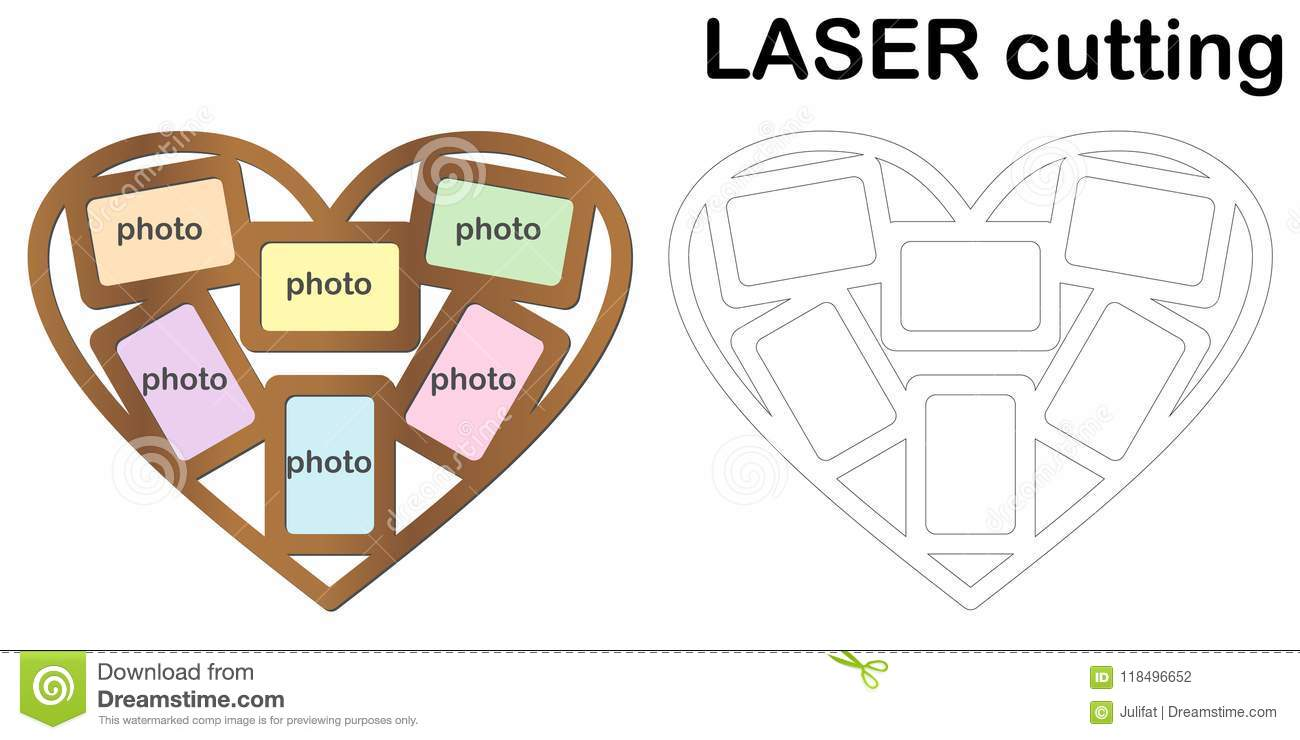 Heart Shaped Frame For Photos For Laser Cutting. Collage Of Photo ...