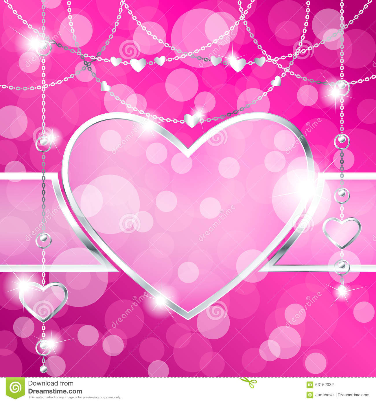 Heart Shaped Frame On Sparkly Hot Pink Background Stock Vector