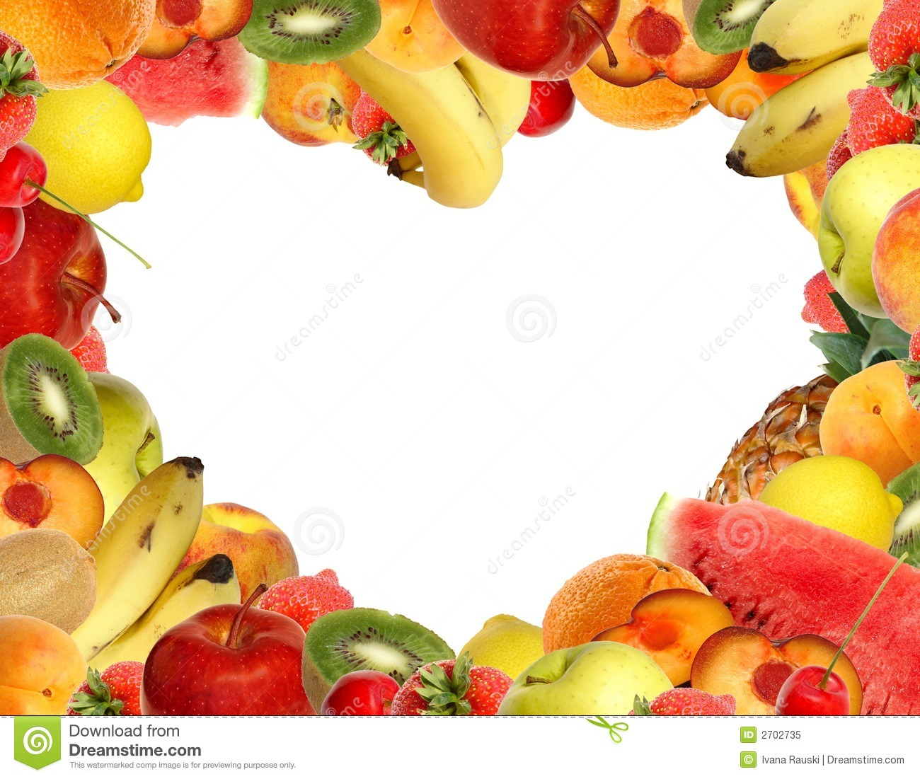 Fruit And Vegetable Border Clip Art Heart-shaped fruit frame