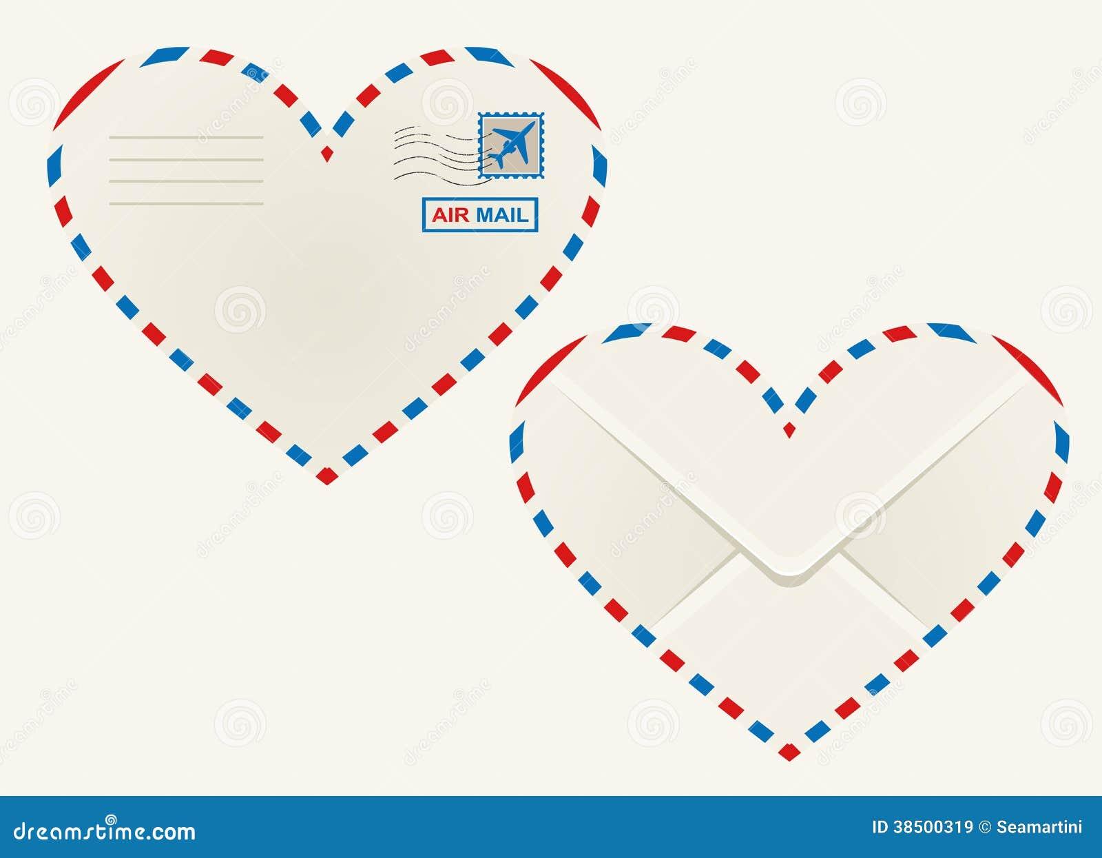 Heart Shaped Heart Airmail Envelope Royalty Free Stock