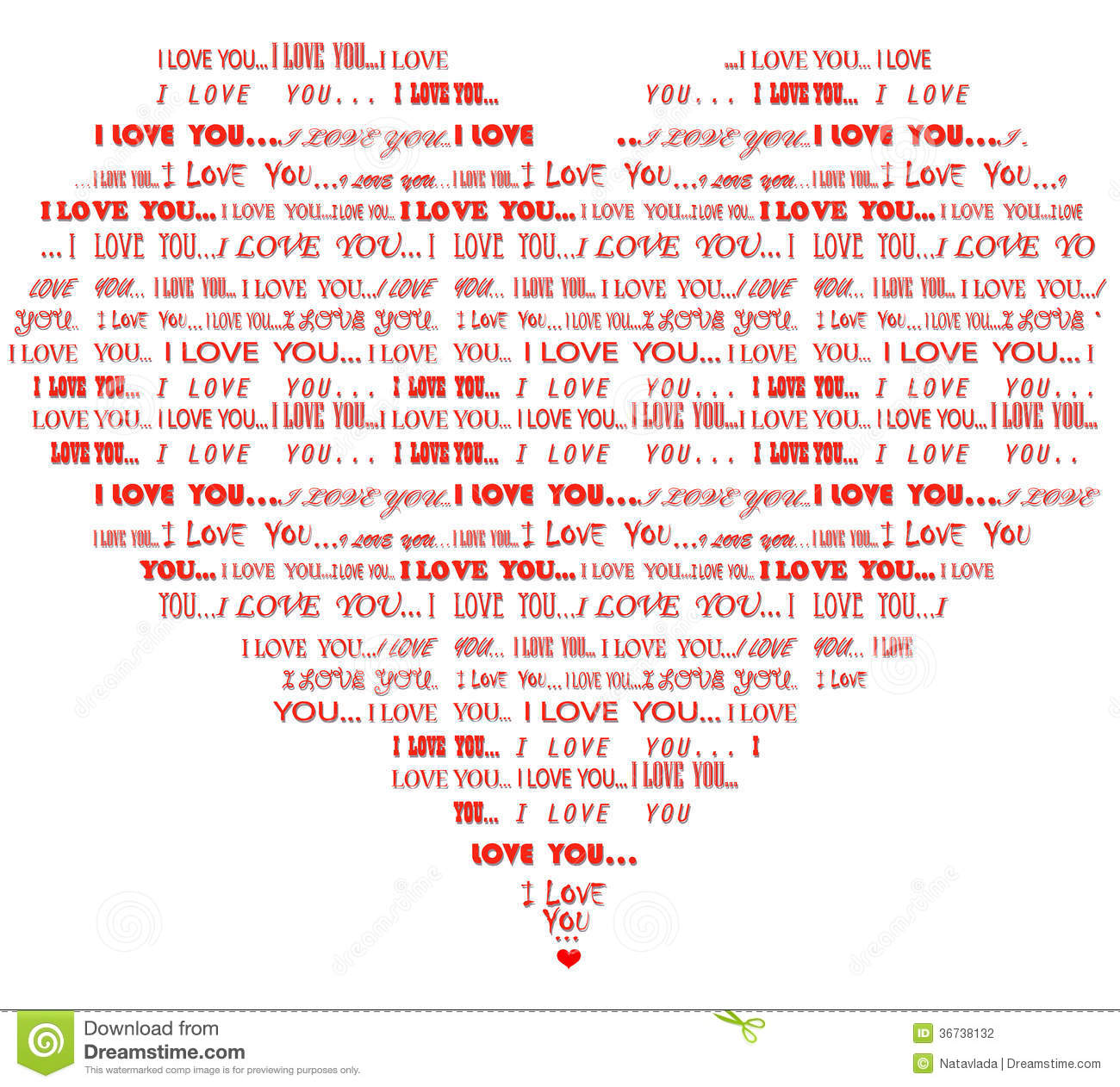Heart Shaped I Love You Red Word Cloud Stock Photography