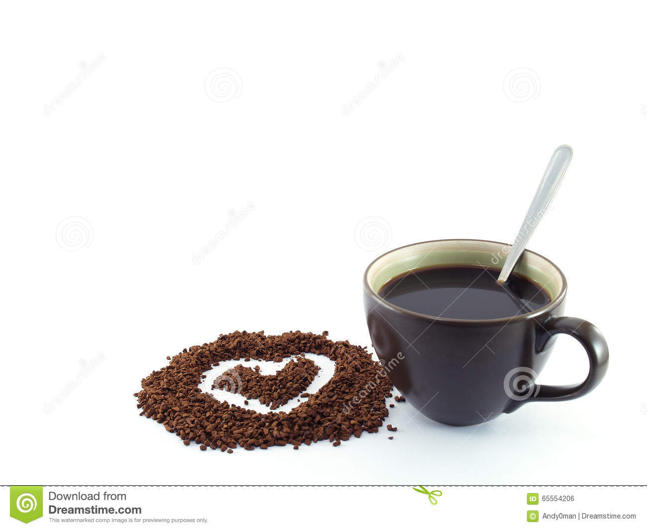 heart shape drawing on soluble instant coffee powder and black coffee with silver tea spoon in dark brown ceramic cup
