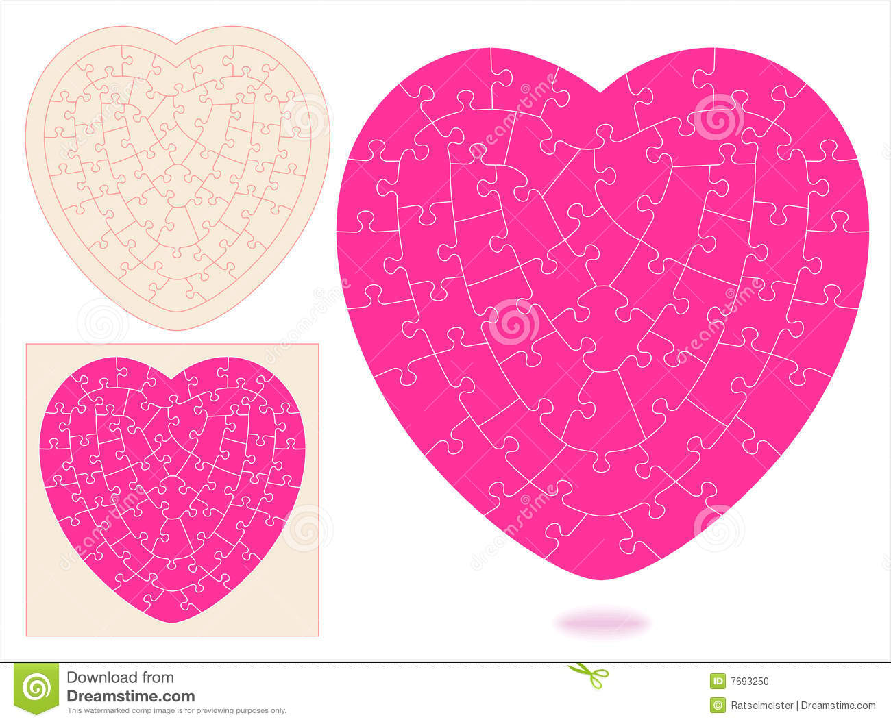 Heart Shapes Templates Heart-shaped jigsaw puzzle