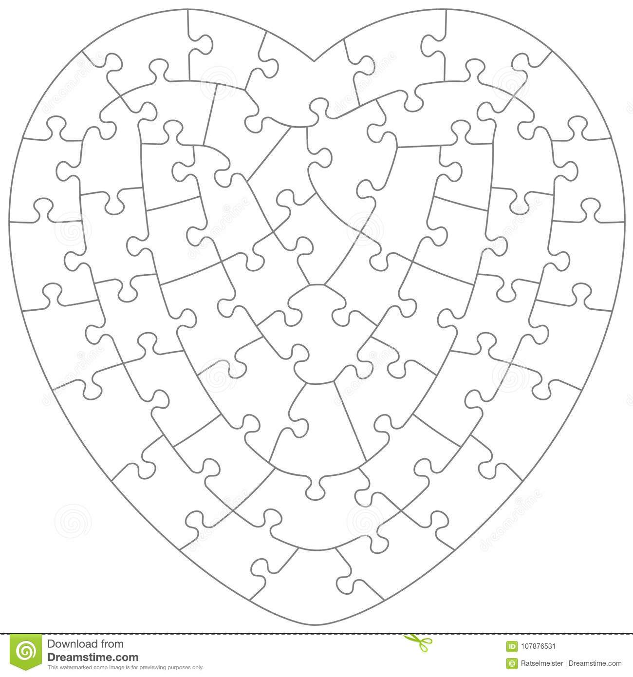 Heart Shaped Jigsaw Puzzle Template Stock Vector - Illustration of ...