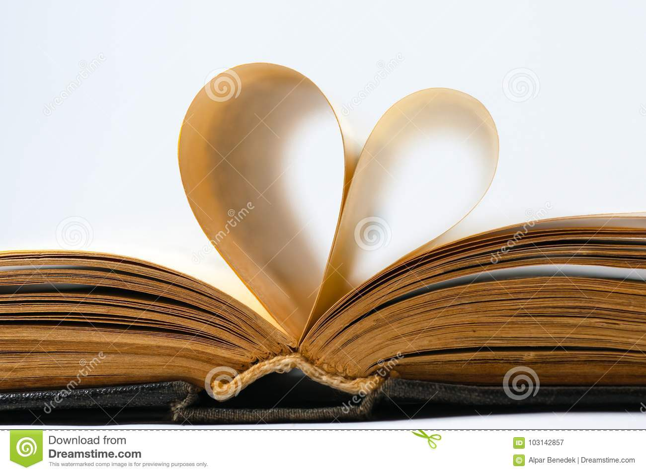 Heart shaped old book pages.