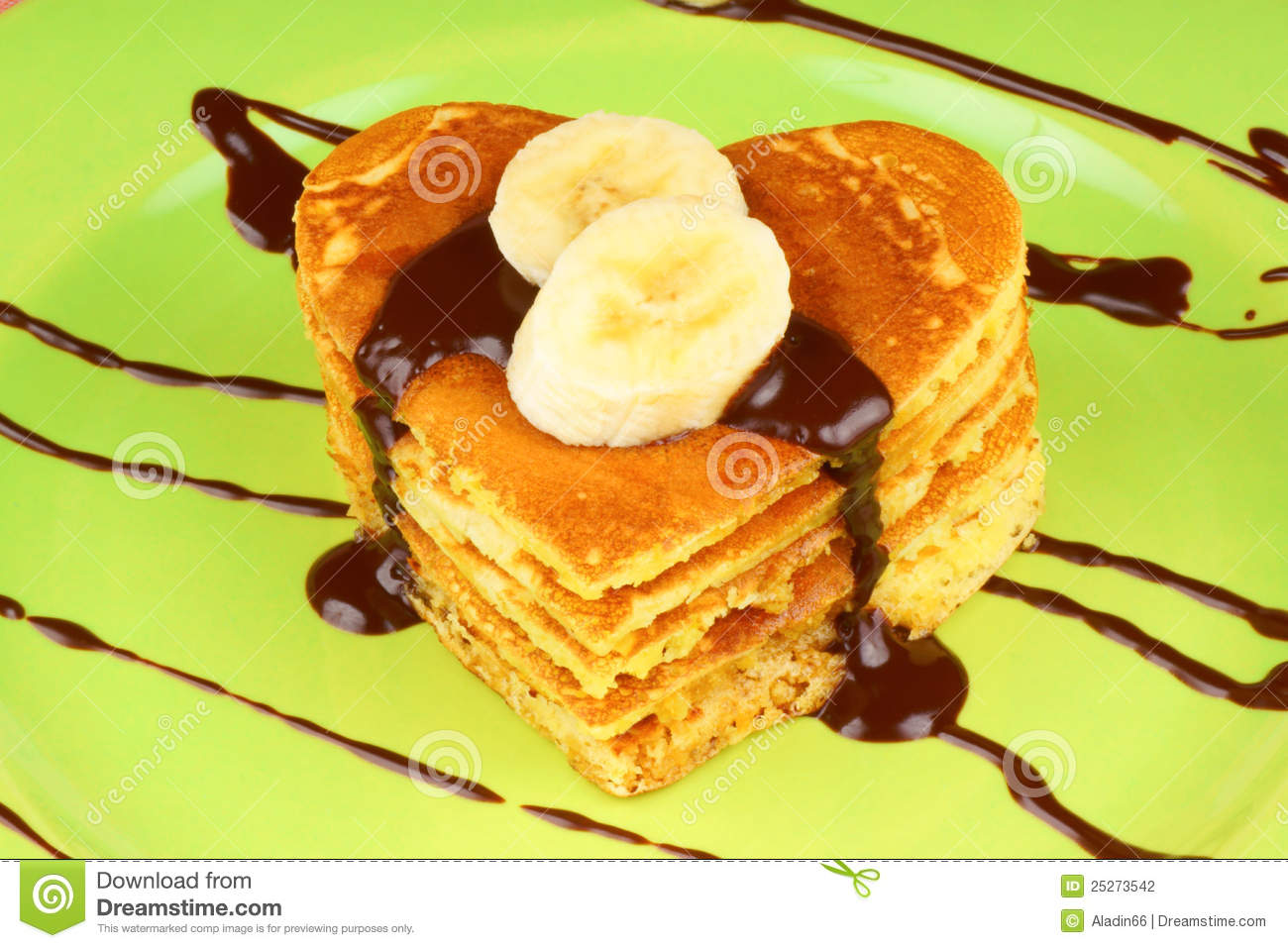 Heart Shaped Pancakes With Chocolate And Banana Stock Photography ...