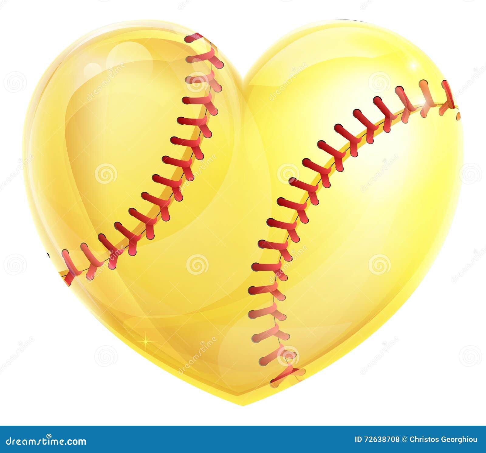 Heart Shaped Softball Stock Vector