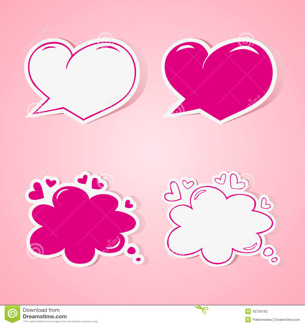 Heart Shaped Speech Bubbles Set