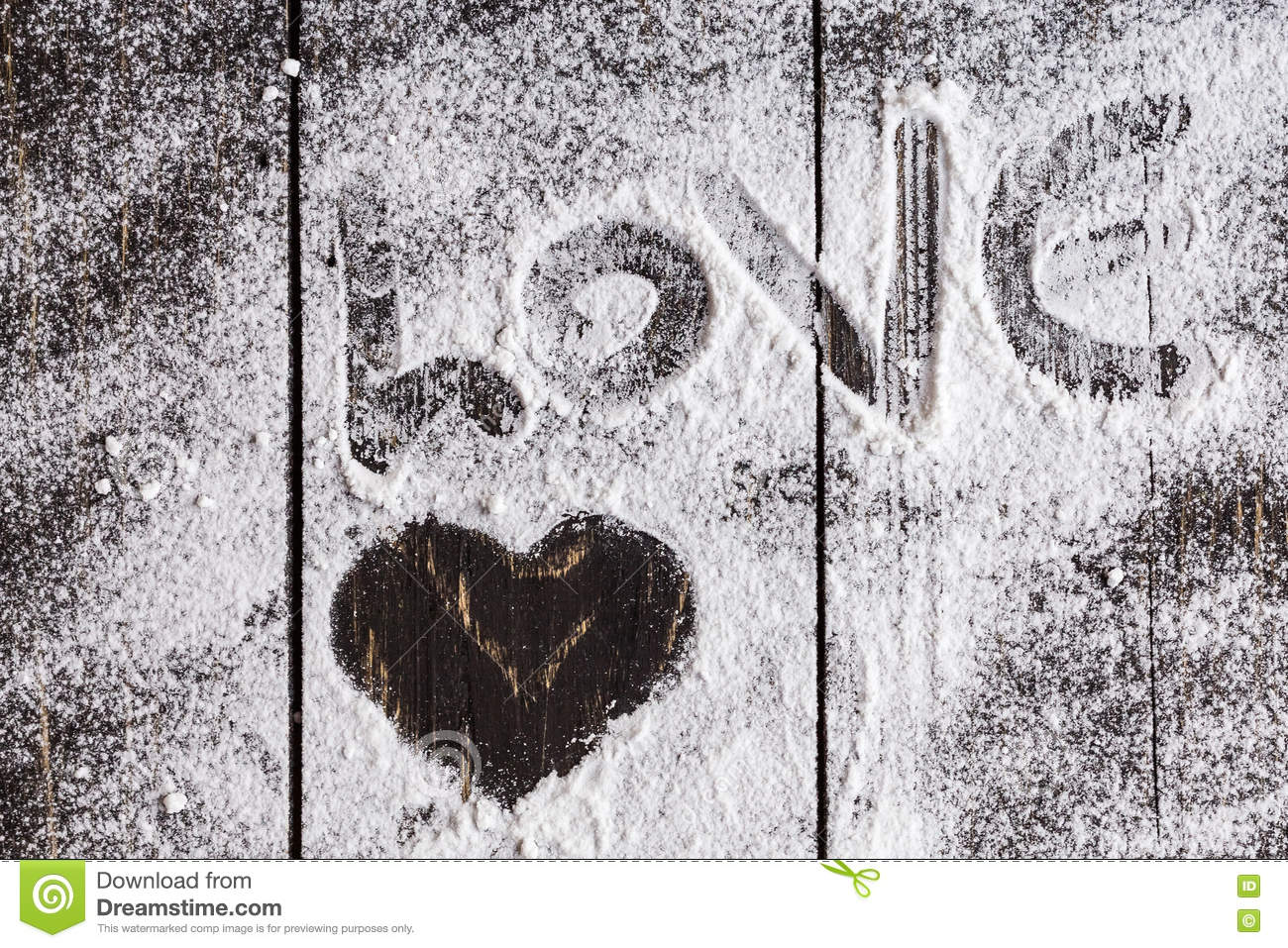 Heart Shaped Symbol With Powdered Sugar Stock Photo Image Of