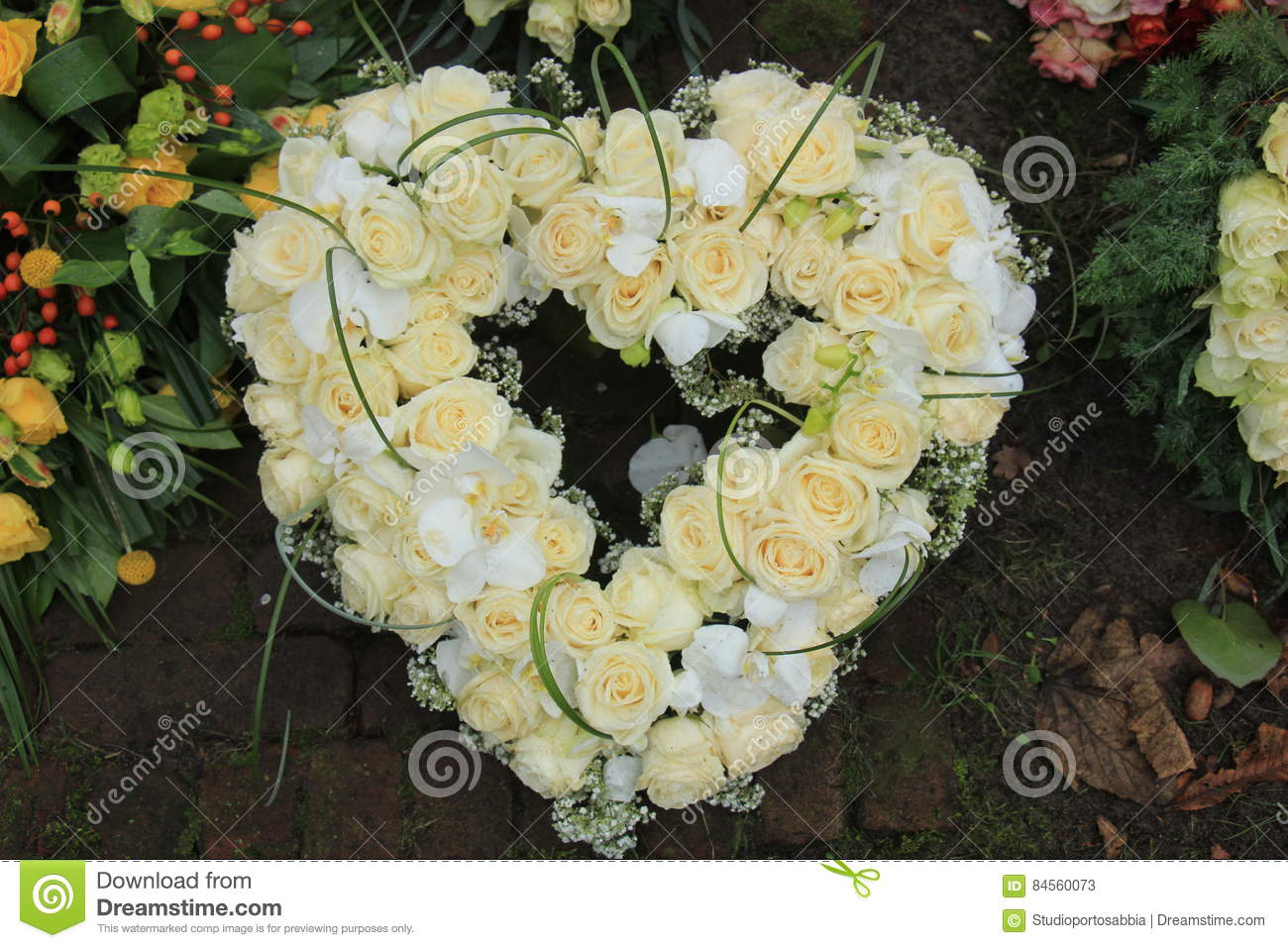 Heart shaped sympathy wreath near a tree stock image image of heart shaped sympathy wreath near a tree izmirmasajfo