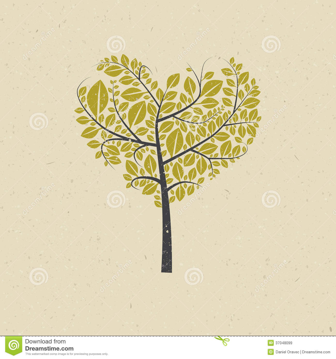 Heart Shaped Tree on Recycled Paper