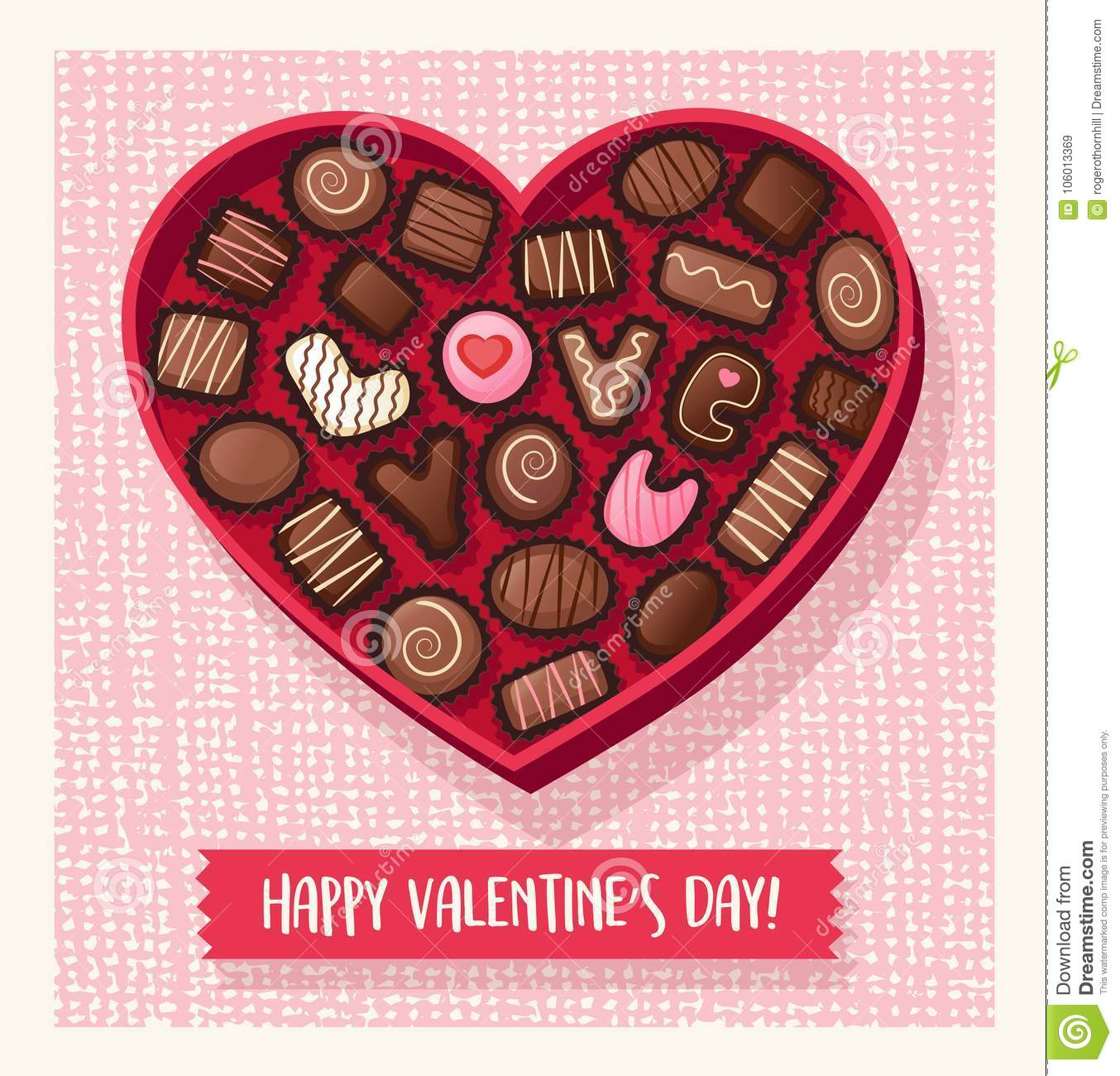 Heart Shaped Valentines Day Candy Box With Chocolates Stock Vector