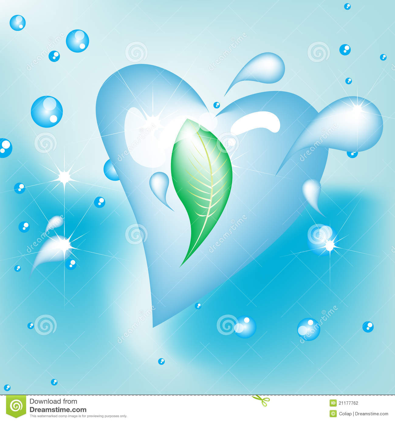 Heart shaped water drop with leaf