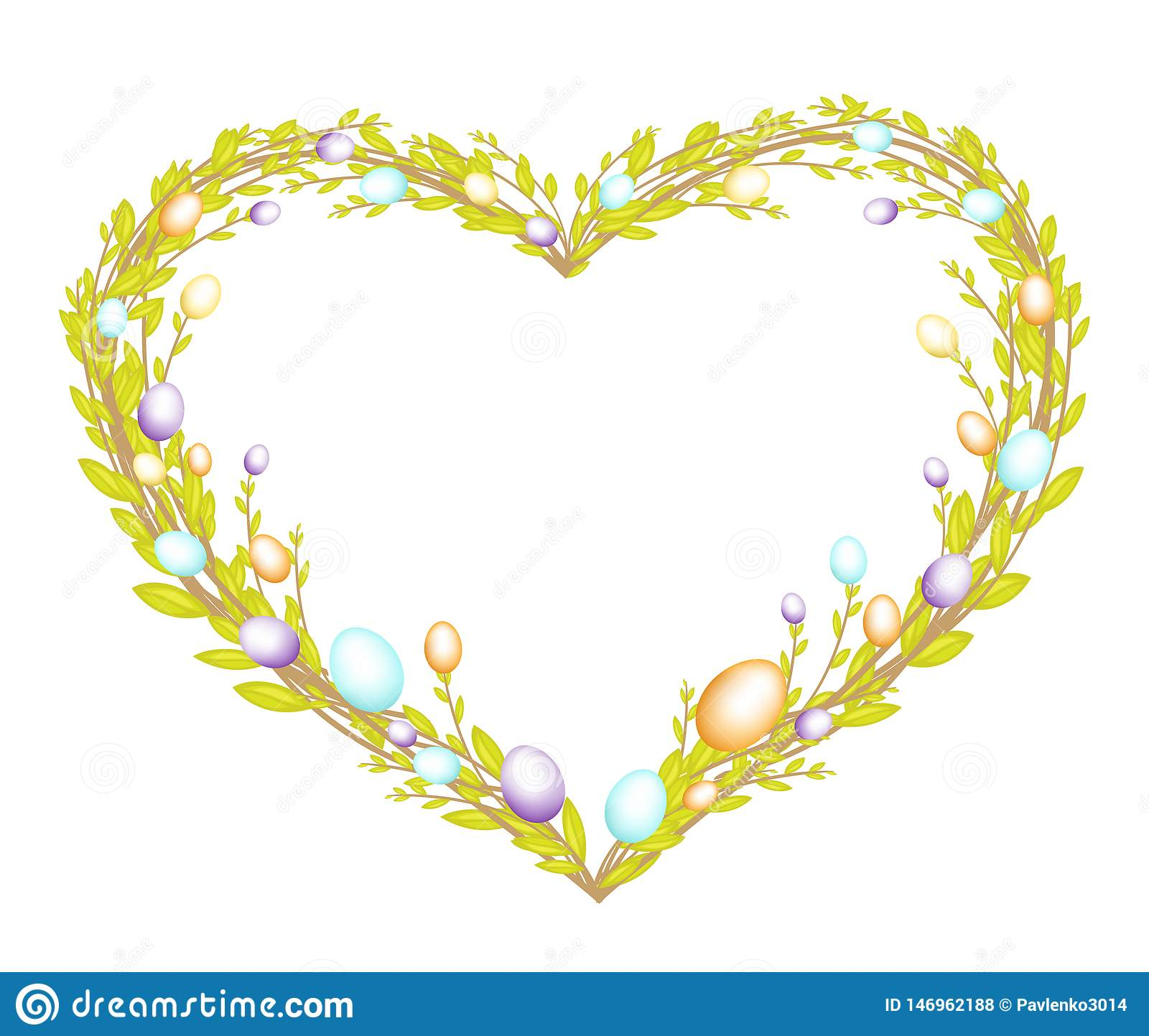 Heart shaped wreath made from young willow branches. Decorated with Easter painted eggs. The symbol of Easter. Vector illustration