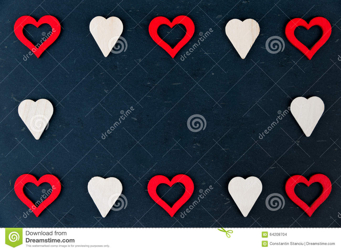 Heart Shapes Symbols Isolated On Black Available Copy Space Love