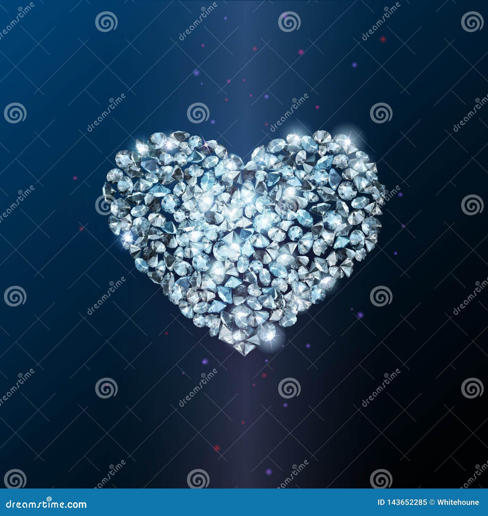 Heart sign made of shiny sparkling diamonds