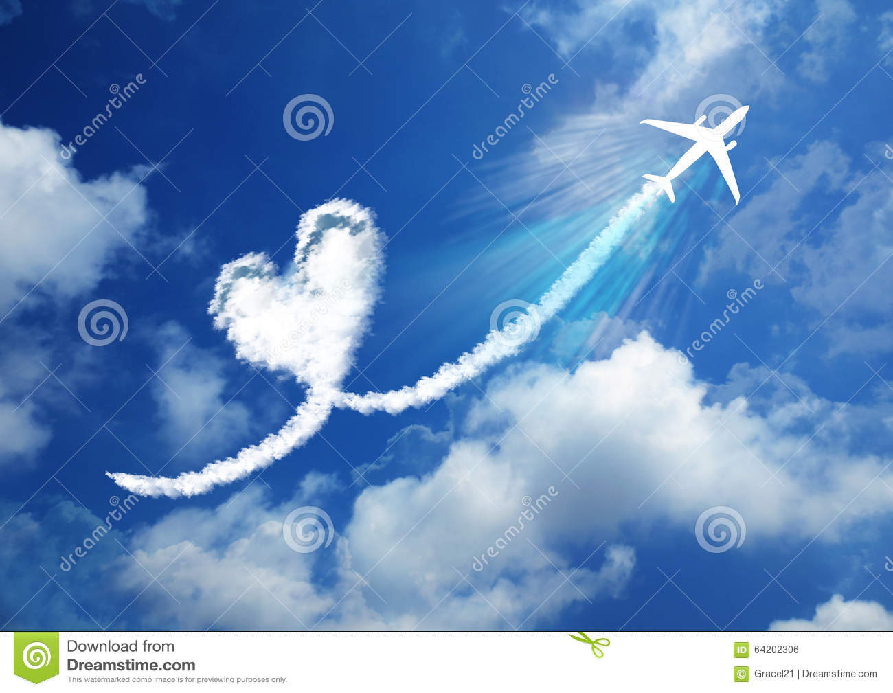 heart in the sky- love concept stock photo - image of design, plane