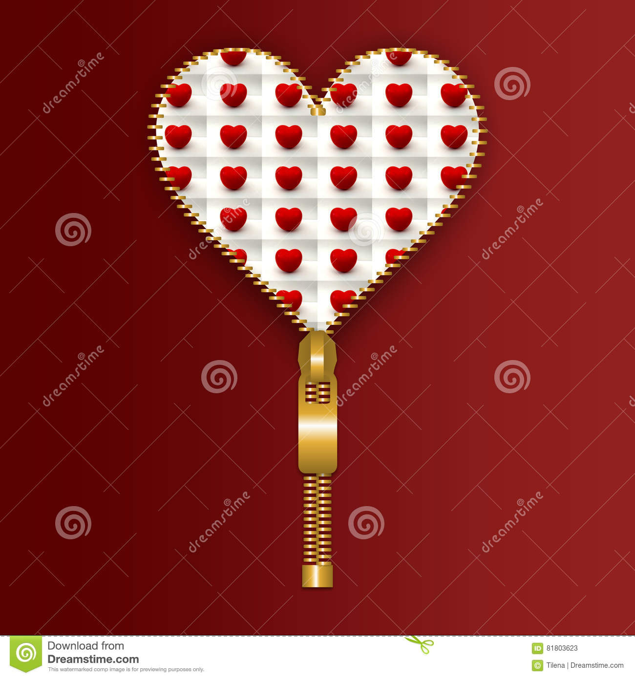 Heart With Small Tomato Hearts Inside Stock Illustration