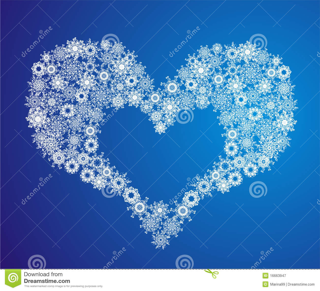 heart of snowflake  vector illustration royalty free stock photography