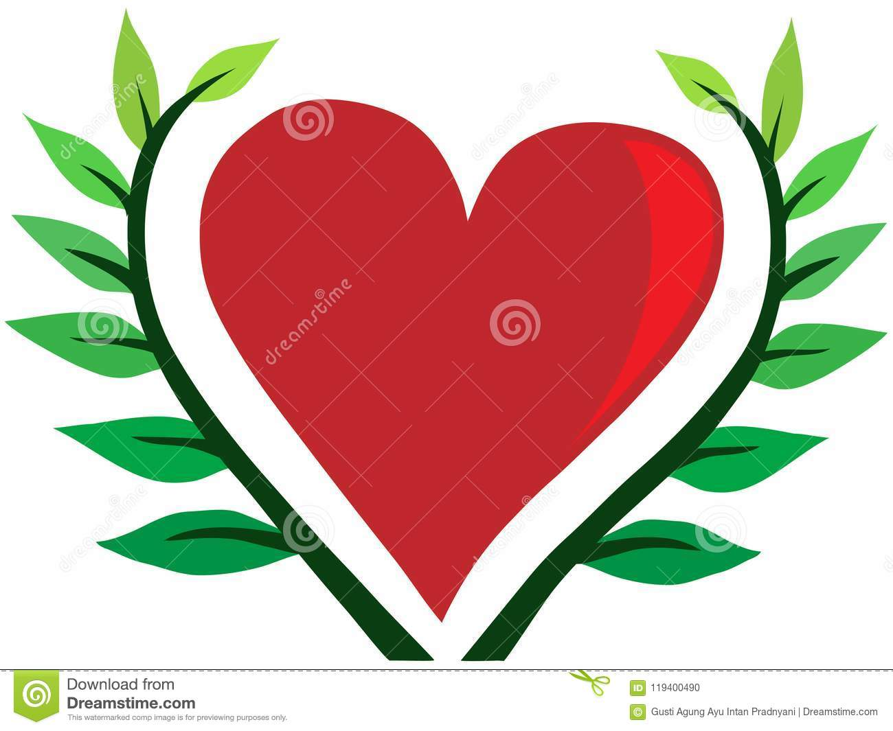 The Heart Sorrounded By Leaf Stock Vector Illustration Of Nature