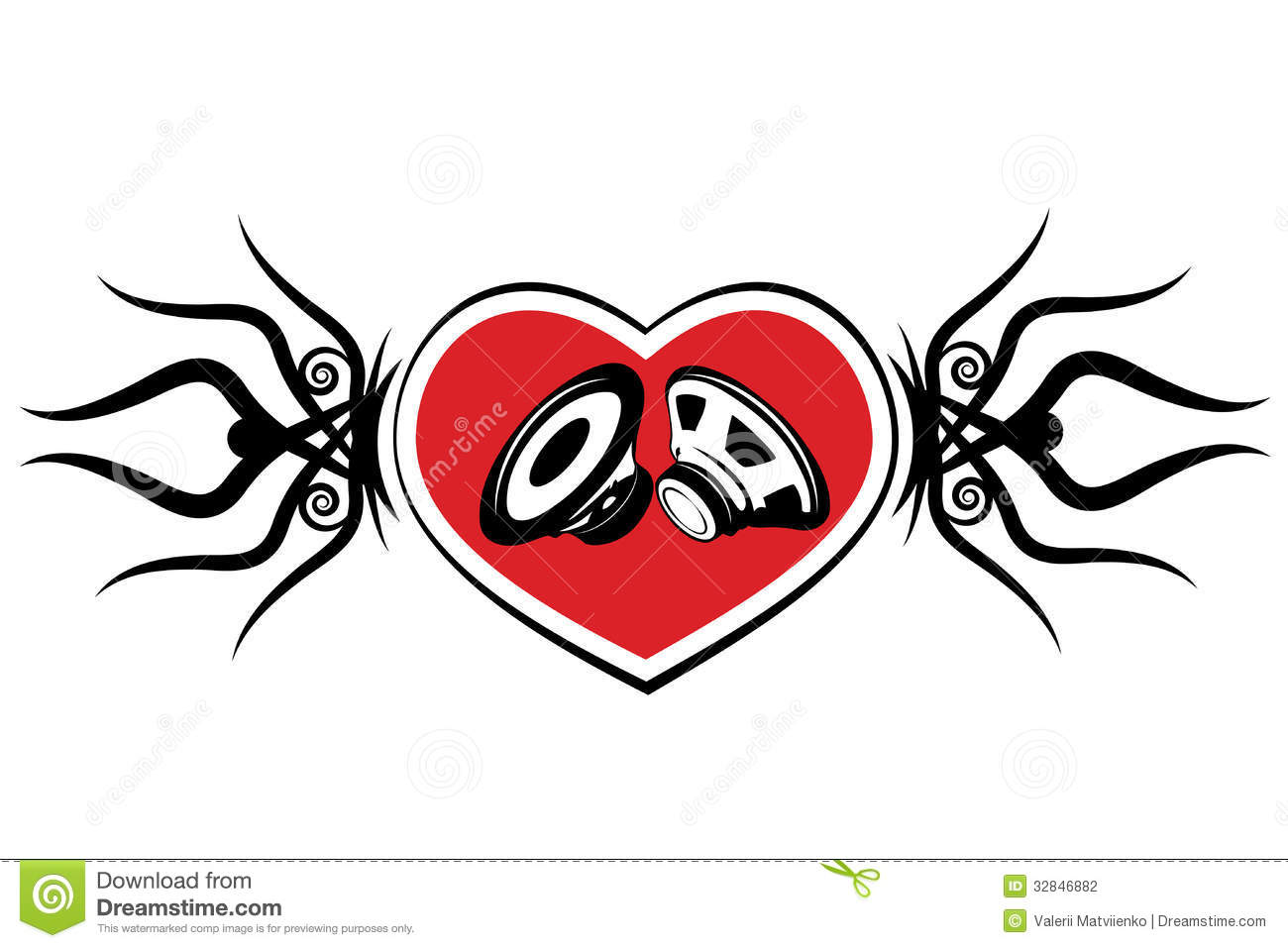 heart and speaker tattoo stock photography image 32846882. Black Bedroom Furniture Sets. Home Design Ideas