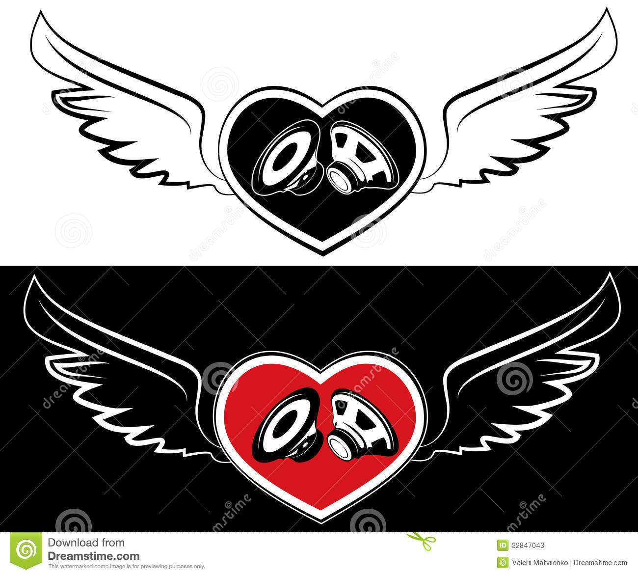 heart speaker and wings tattoo background stock photos image 32847043. Black Bedroom Furniture Sets. Home Design Ideas