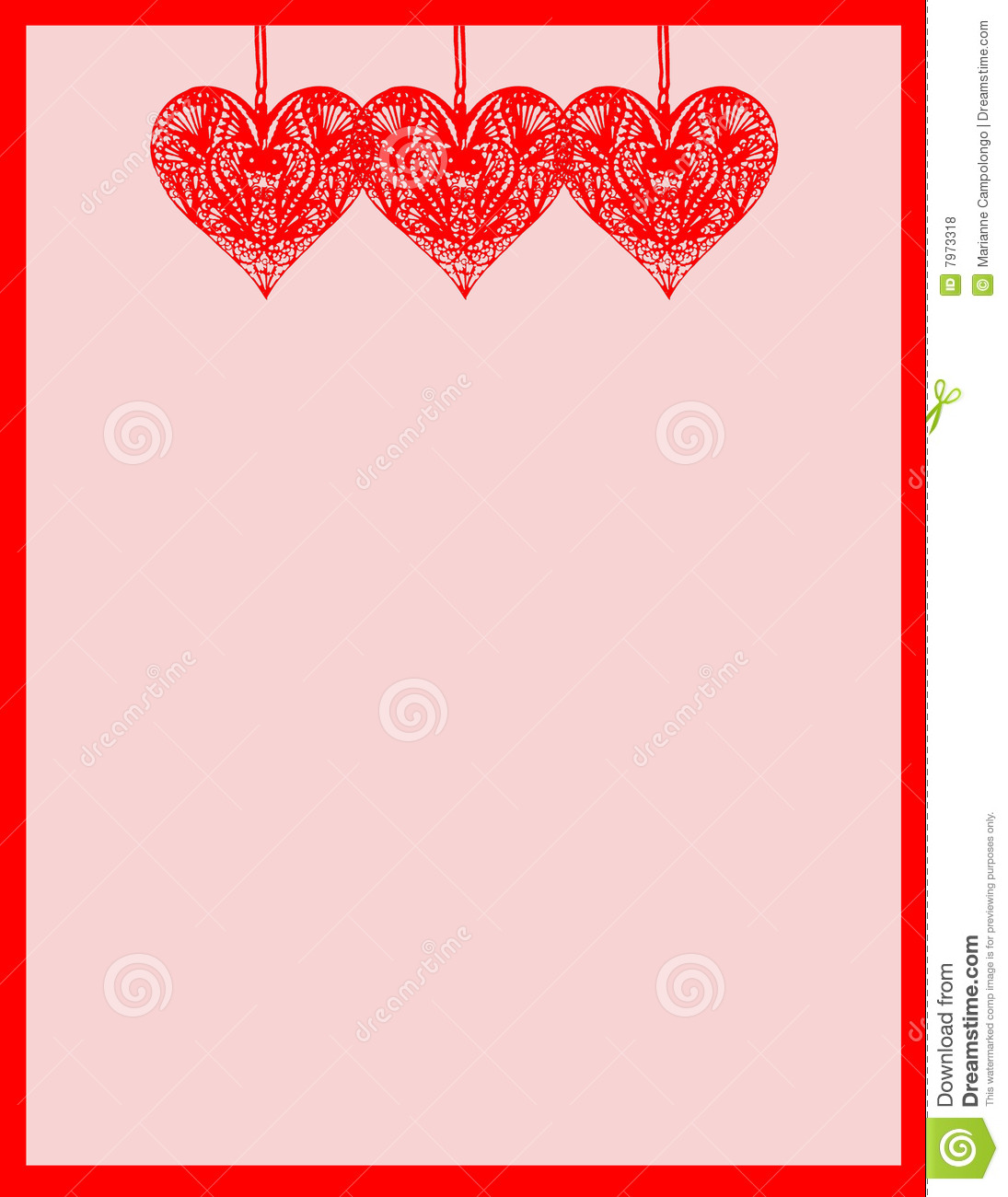 Colorful stationary notepaper with hearts for valentine's day.