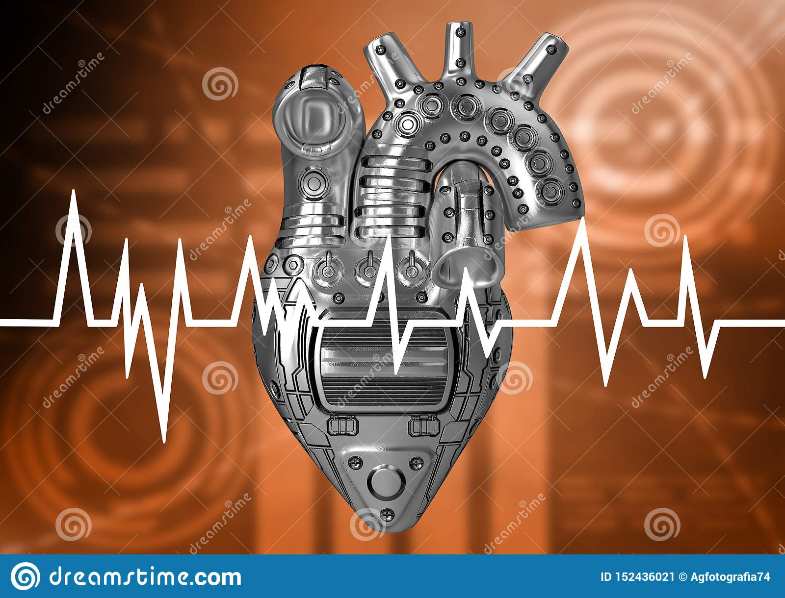 Heart of steel, concept of prevention of heart problems. Cardiac rate assessed by electrocardiogram examination