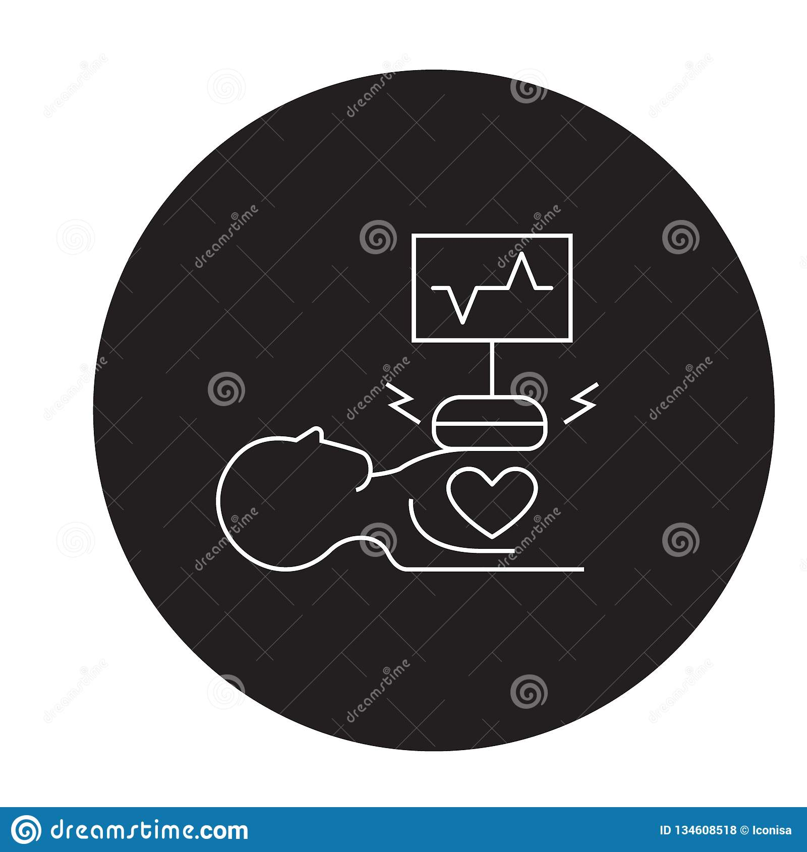 Heart Surgery Black Vector Concept Icon Heart Surgery Flat Illustration Sign Stock Vector Illustration Of Diagnosis Hospital 134608518
