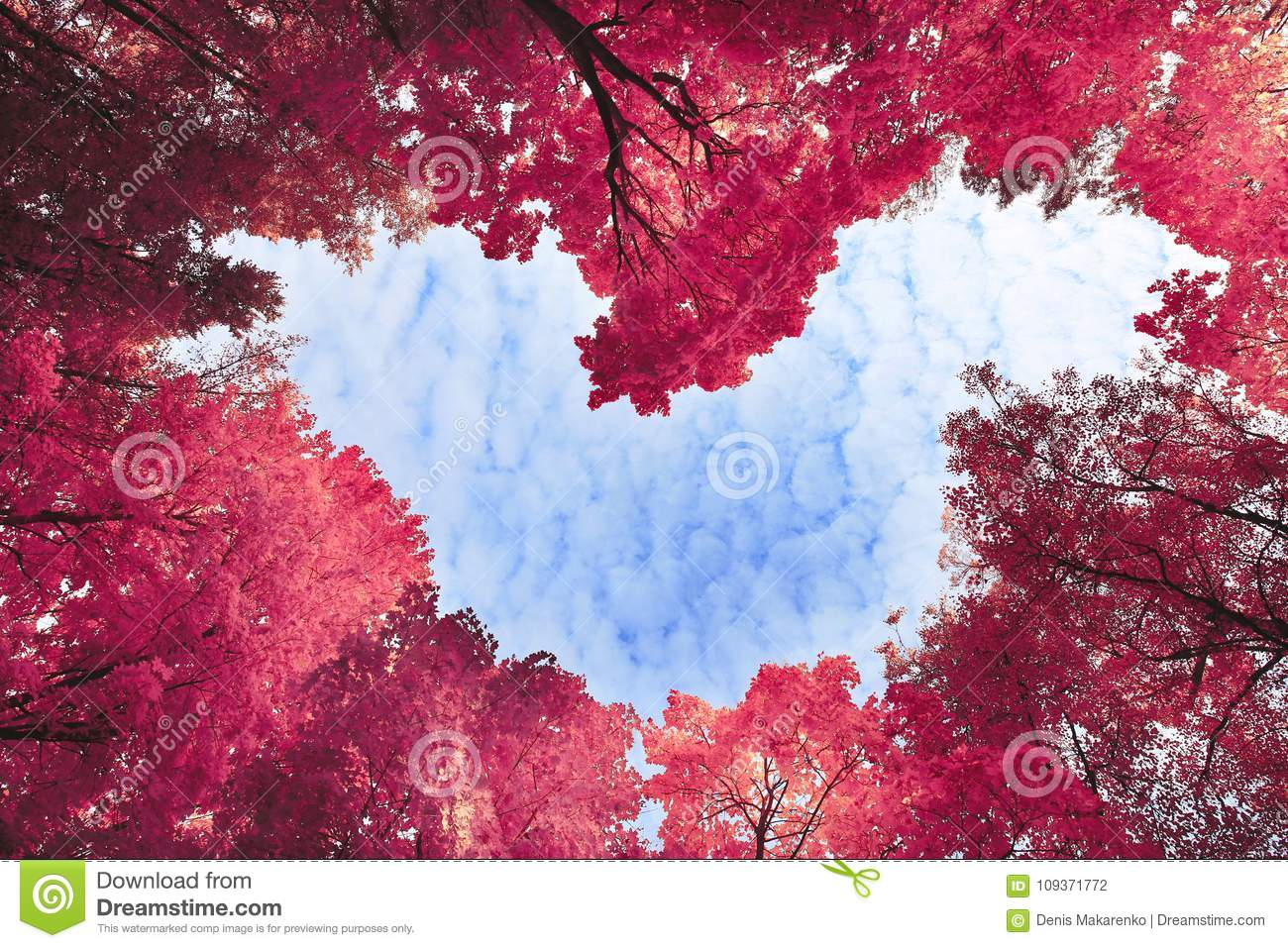 Heart surrounded by spring trees
