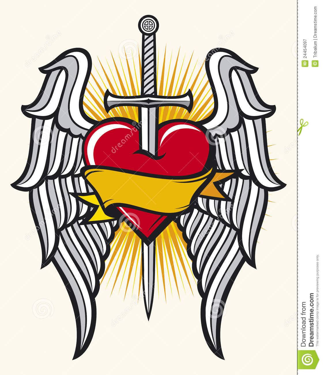 Gallery For gt Heart With Wings And Sword Tattoo