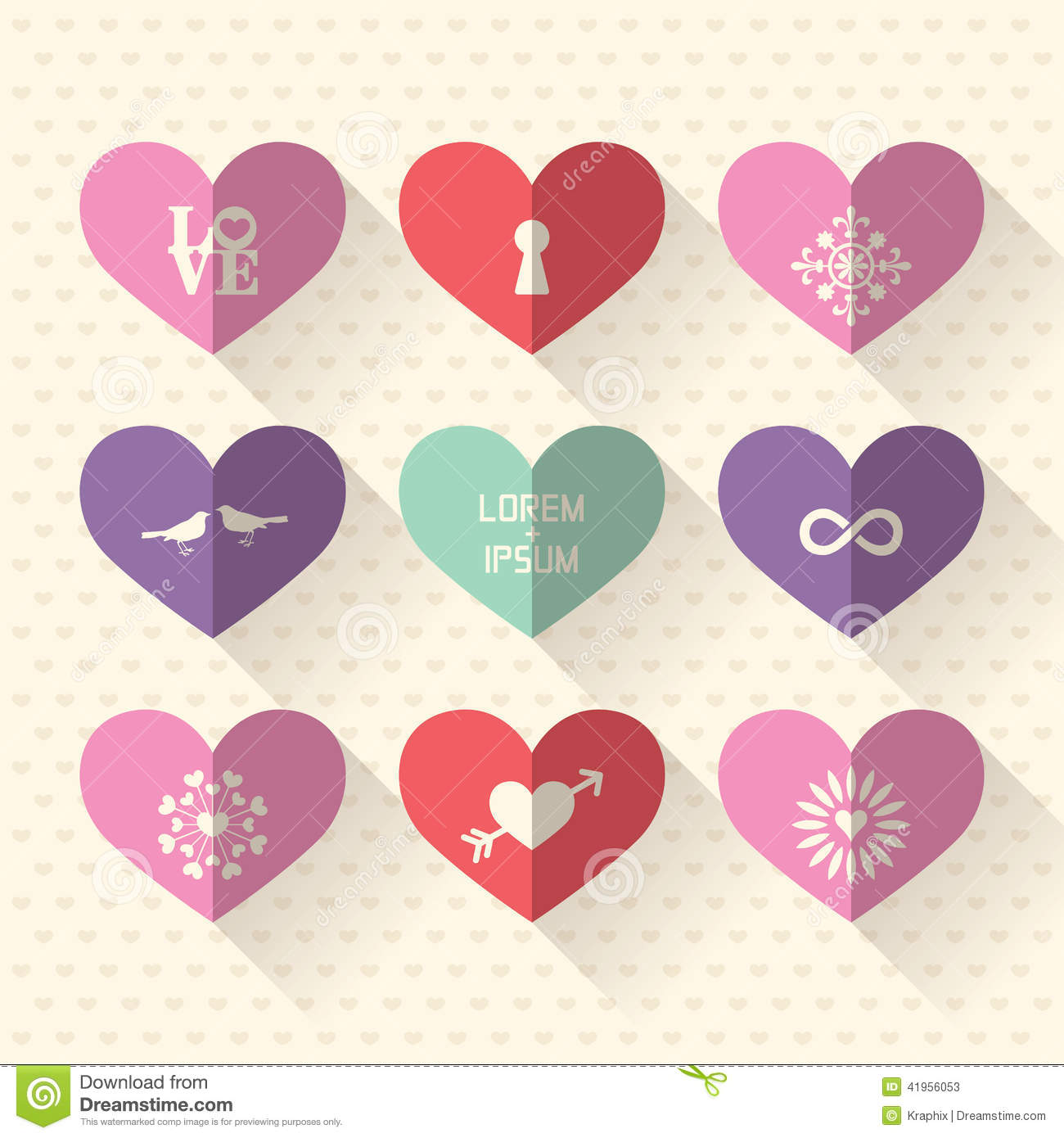 Heart symbol icon set with love and wedding concept