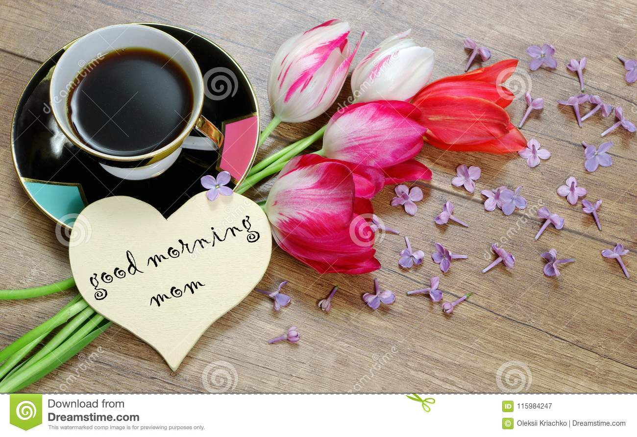 Heart Symbol Of Love And Tulips On A Wooden Background Good Morning