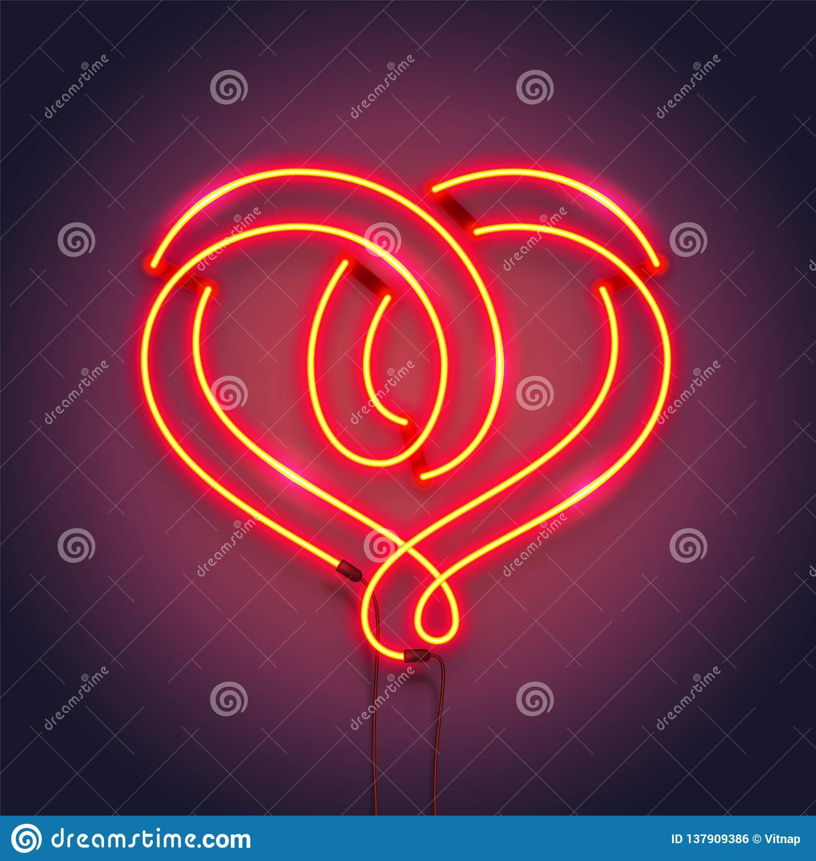 Heart symbol made of neon tubes. Romantic decoration design. Vector realistic illustration