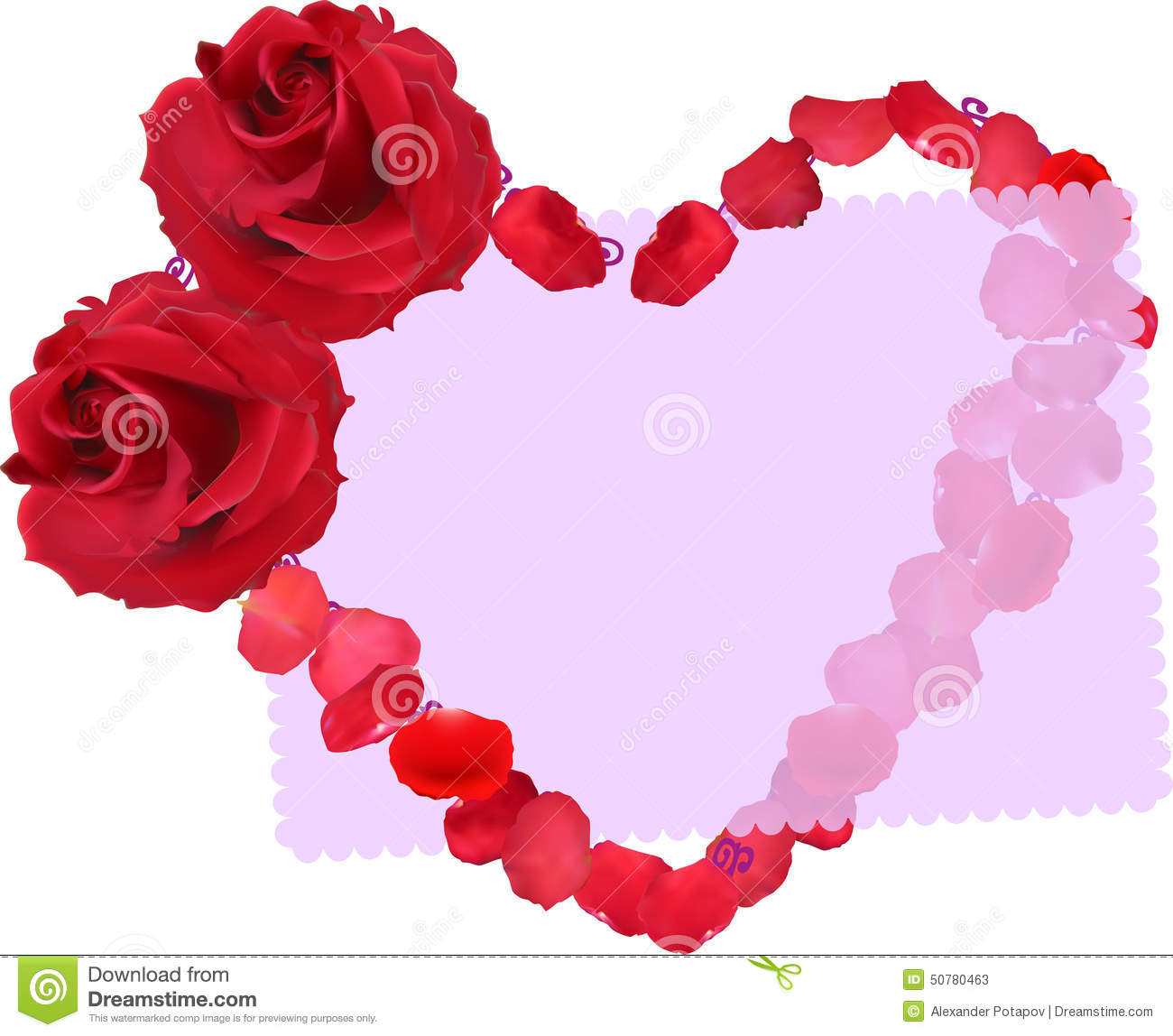 Heart Symbol From Red Rose Flowers And Petals On White Stock Vector