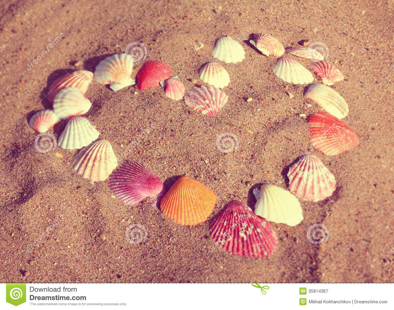 Heart Symbol From Shells On Sand - Vintage Retro Style Royalty ...
