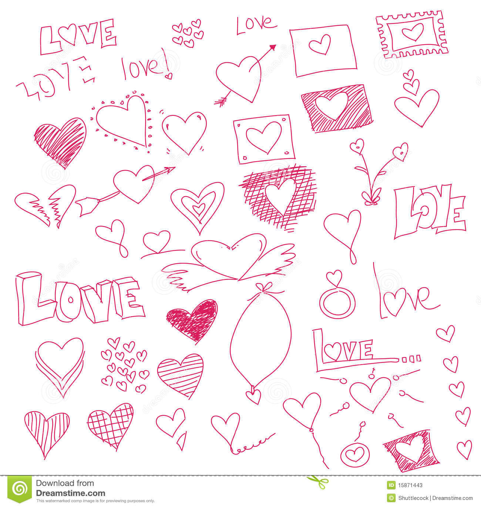 Heart Symbols Stock Illustration Illustration Of Print 15871443