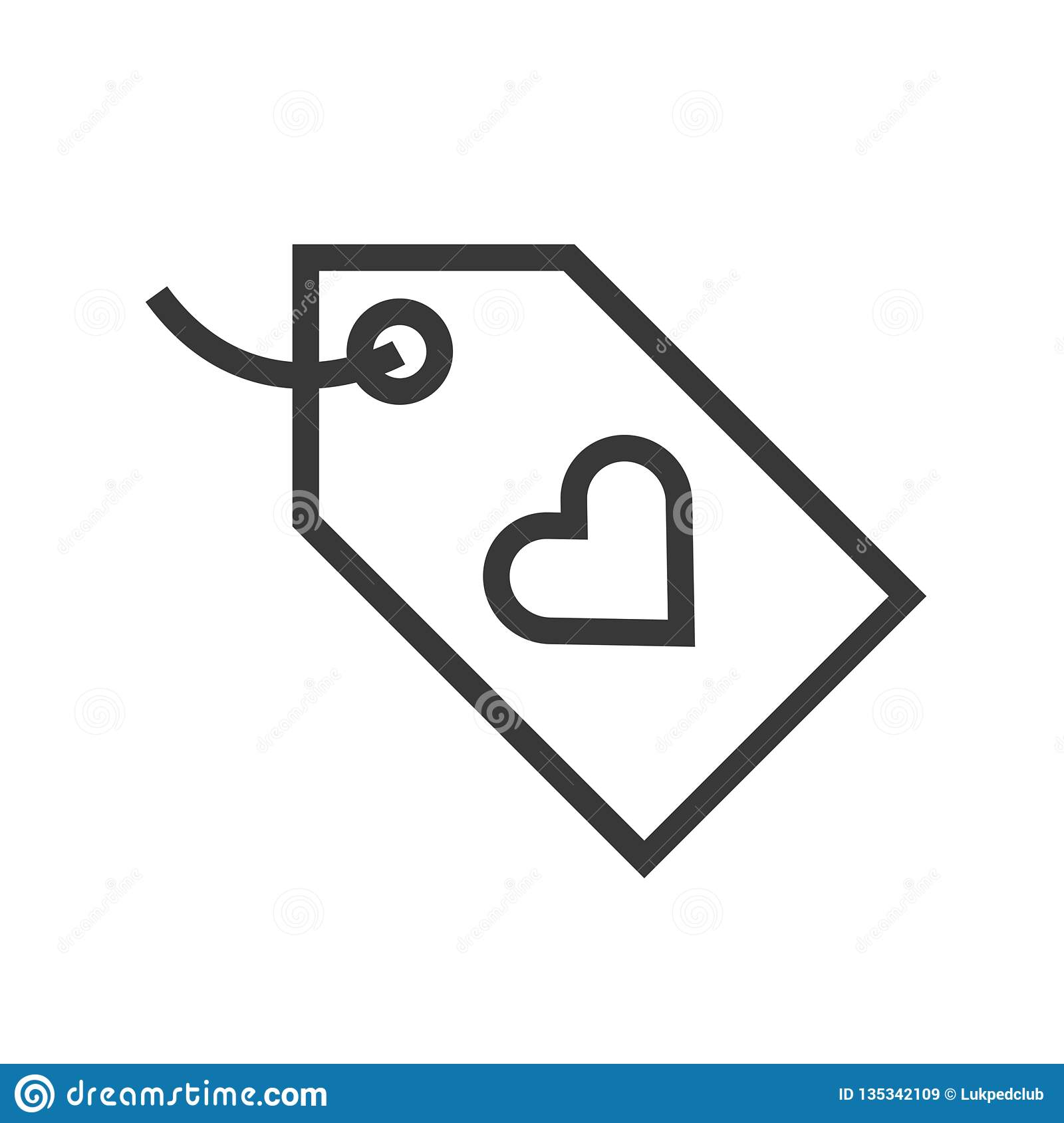 Heart Tag Vector, Online Shopping Line Style Icon Editable