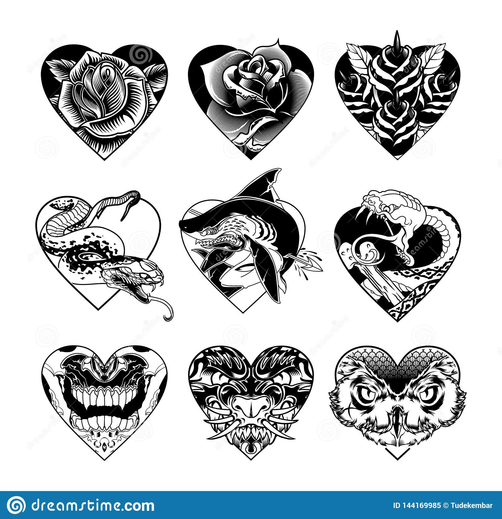 Heart Tattoo Set Flash School Tattoo Black White Stock