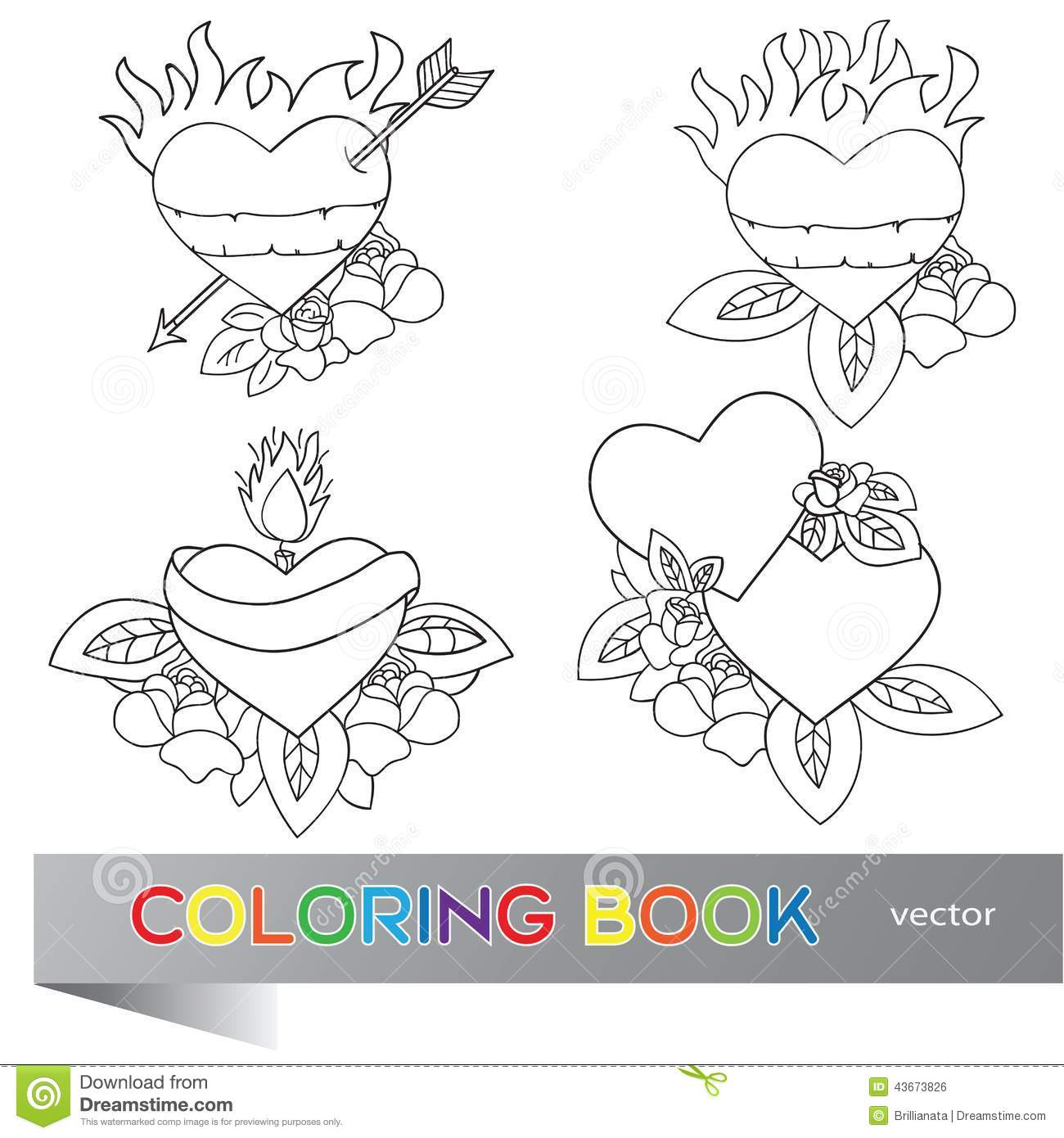 The coloring book tattoo - Heart Tattoo Design Coloring Book