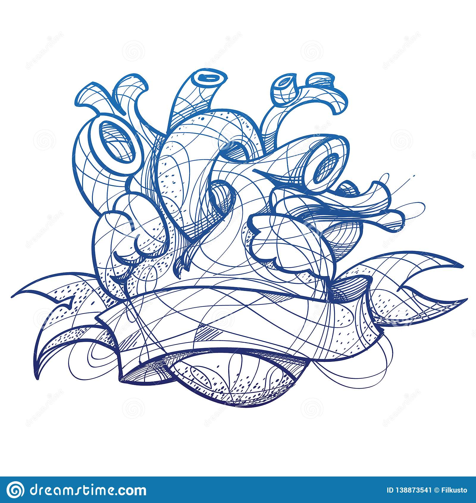 Heart Tattoo Sketch Hand Drawing Style Picture For Coloring Stock Vector Illustration Of Banner Illustration 138873541