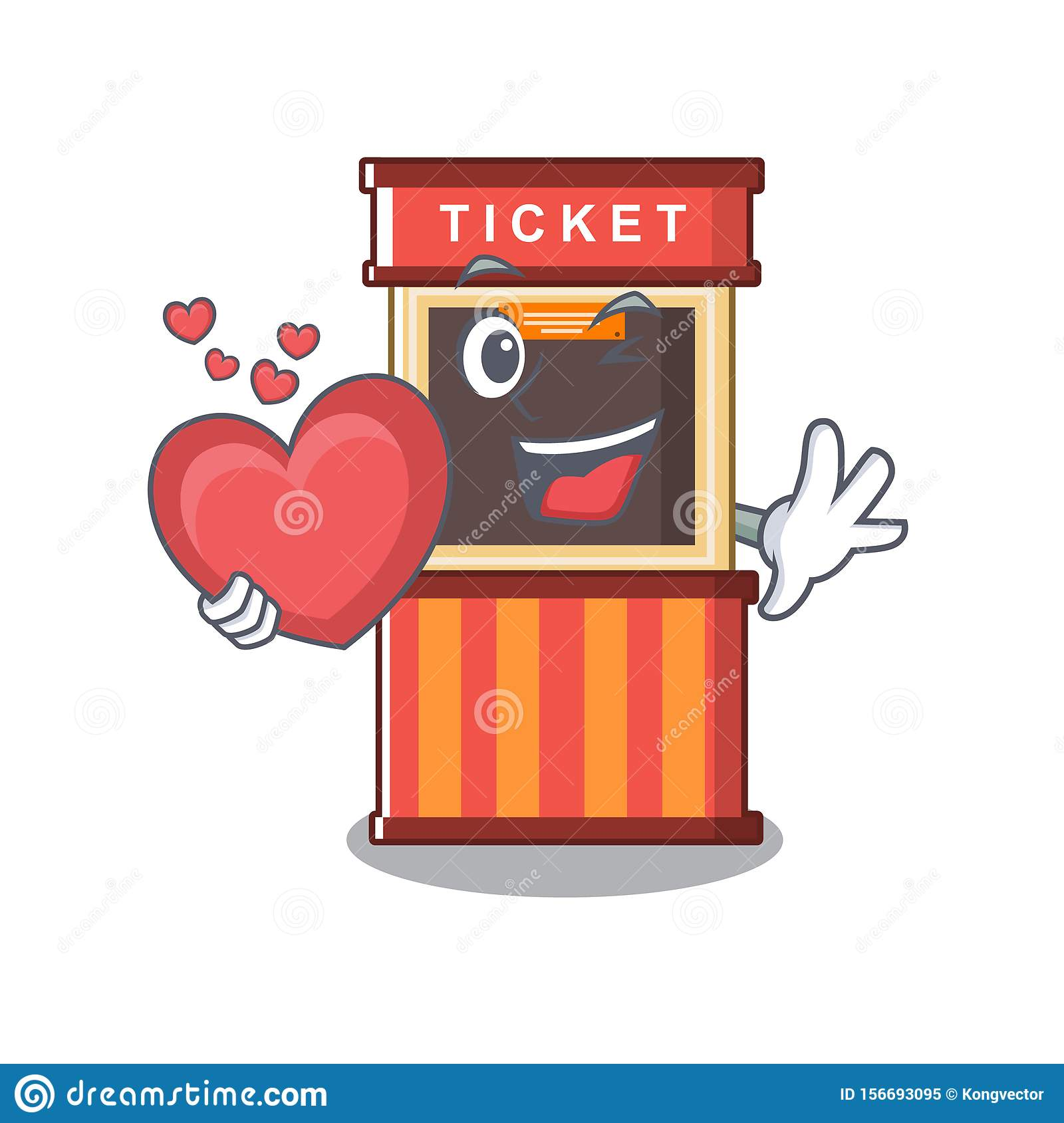 With Heart Ticket Booth Isolated With The Cartoon Stock Vector Illustration Of Park Fair 156693095