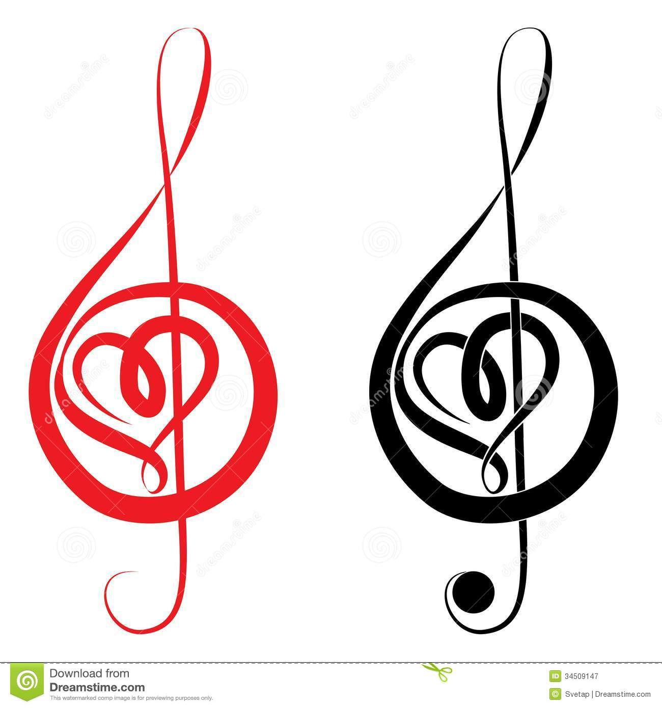 Heart Of Treble Clef And Bass Clef Royalty Free Stock Photography ...
