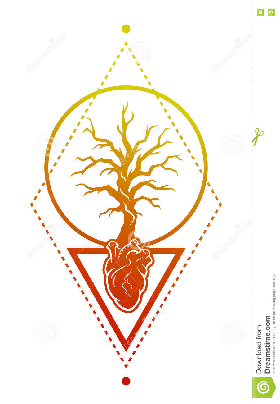Heart, Of The Tree As A Symbol Of Life. Stock Vector - Illustration ...