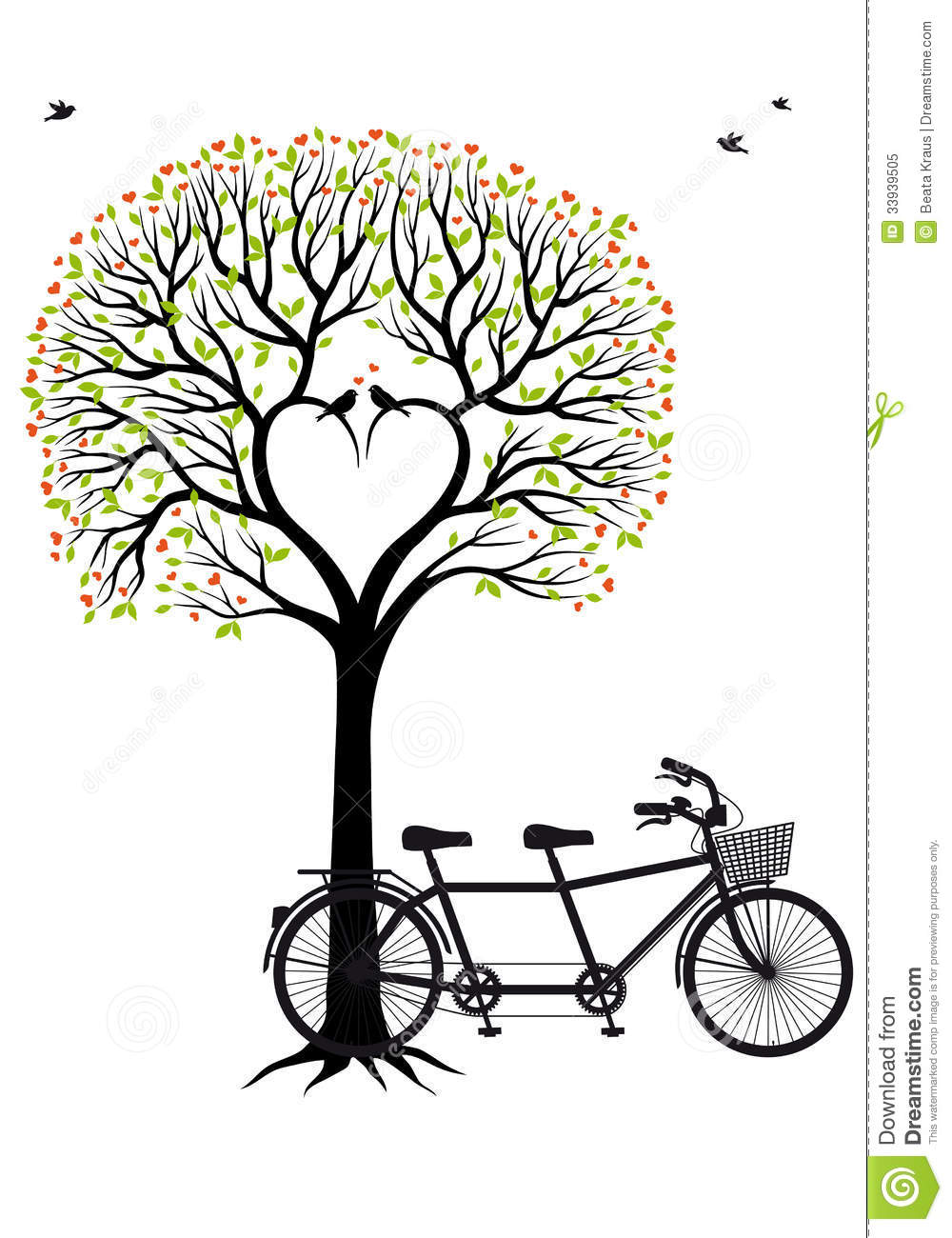Heart tree with birds and bicycle, vector