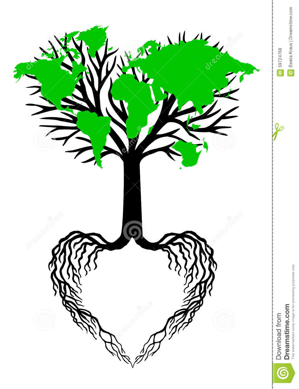 heart tree with green world map  vector stock vector